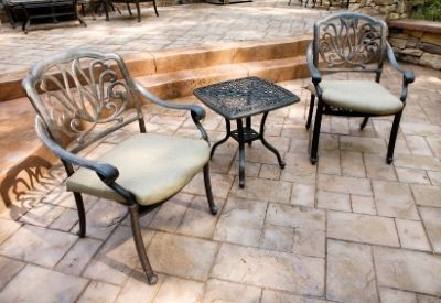 A stamped concrete patio in downtown Beaumont.