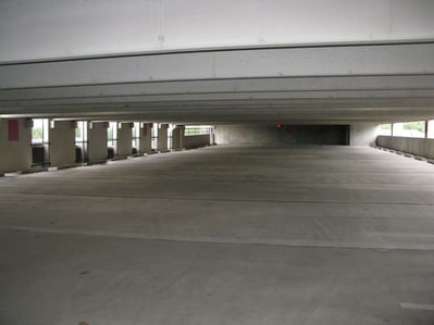 A recently finished concrete parking lot in Beaumont, TX.