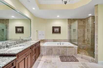 A beautiful bathroom with concrete countertops in Beaumont, TX